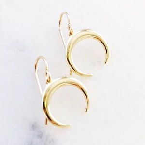 Gold Crescent Half Moon Drop Earrings